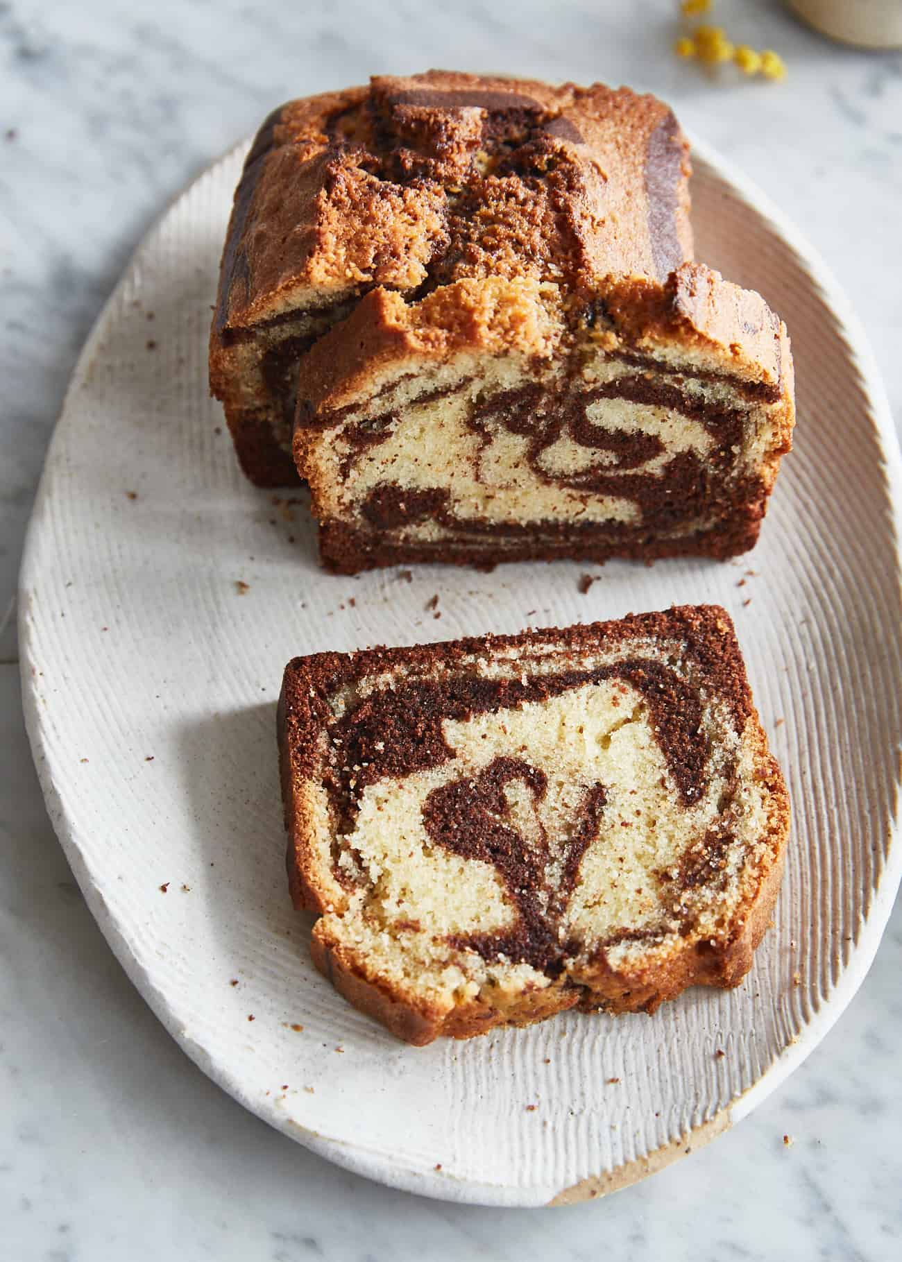 marble cake sliced on a plate