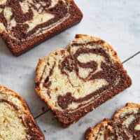 Slices of marble cake on a marble background