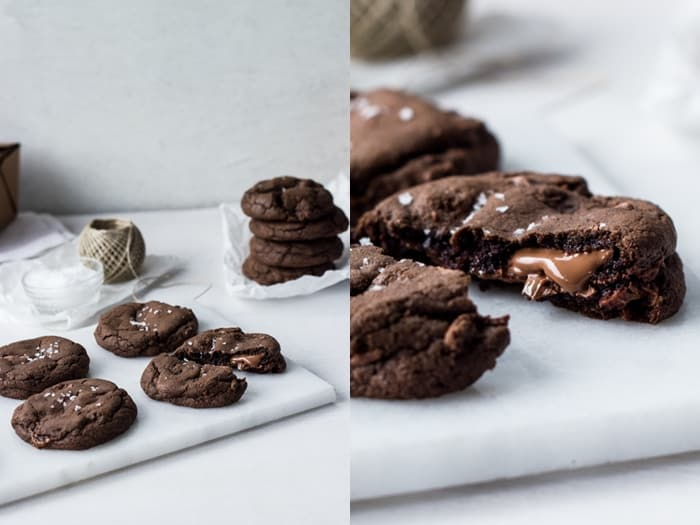 Nutella and Salted Caramel Stuffed Double Chocolate Chip Cookies - Izy ...