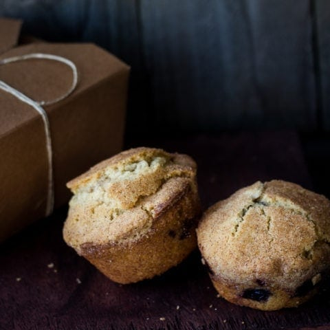Snickerdoodle Topped Blueberry Doughnut Muffins