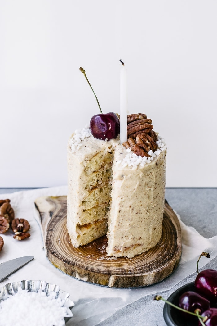 No-Bake Buttermilk Pancake Layer Cake For One with Malted Pecan Buttercream