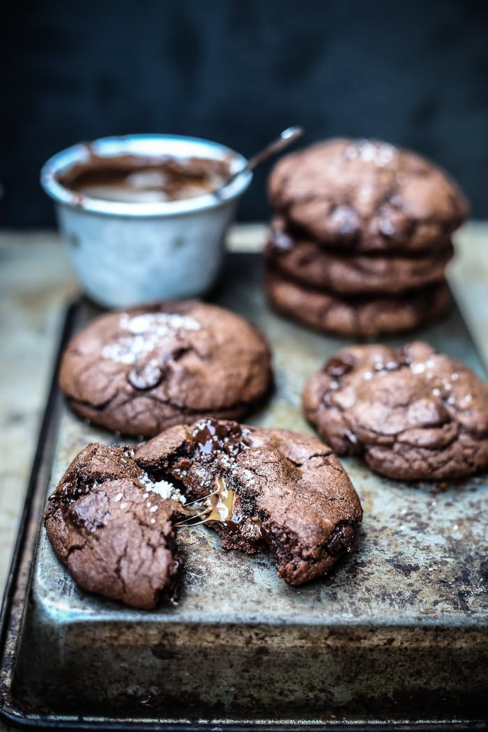 Salted Caramel and Nutella Stuffed Double Chocolate Chip Cookies | http://homemaderecipes.com/entertaining/14-nutella-recipes/