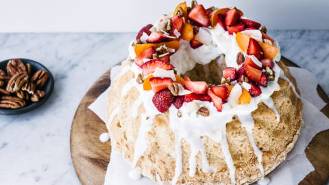 Coconut Angel Food Cake With Greek Yogurt Frosting Izy Hossack