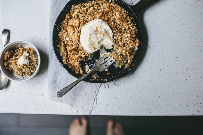 Browned Butter, Caramel & Coconut Skillet Apple Crumble