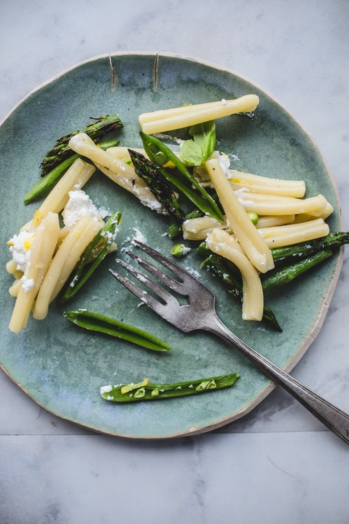 Casarecce with Griddled Asparagus, Sugar Snap Peas and Ricotta