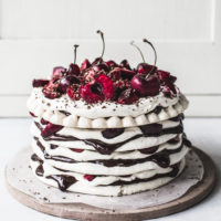 Chocolate & Cherry Meringue Stack Cake {gluten-free}