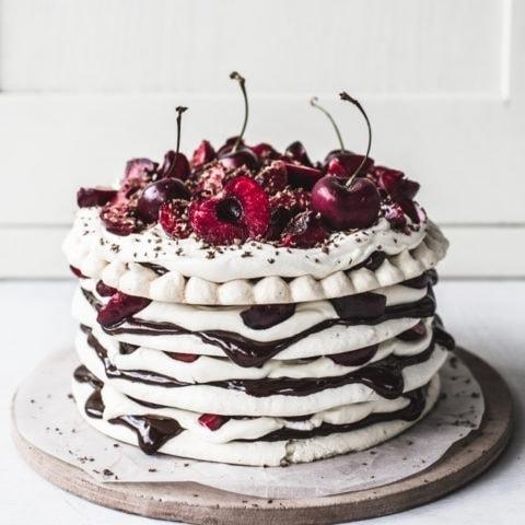 Chocolate & Cherry Meringue Stack Cake {gluten-free}