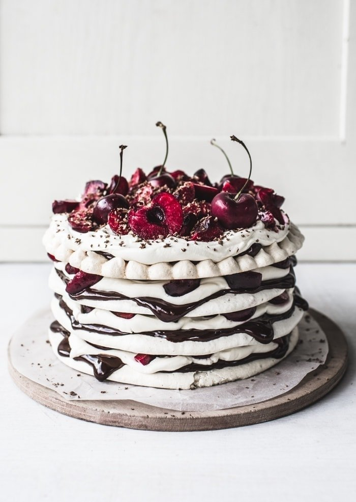 Chocolate & Cherry Meringue Cake // Top with Cinnamon