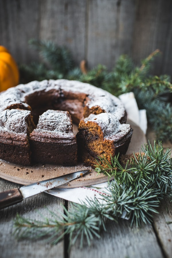 Chocolate Chip, Pumpkin and Rye Bundt Cake