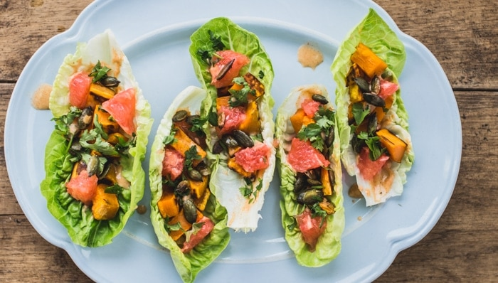 Lettuce Boats with Sweet Potato, Grapefruit and Paprika Mayo