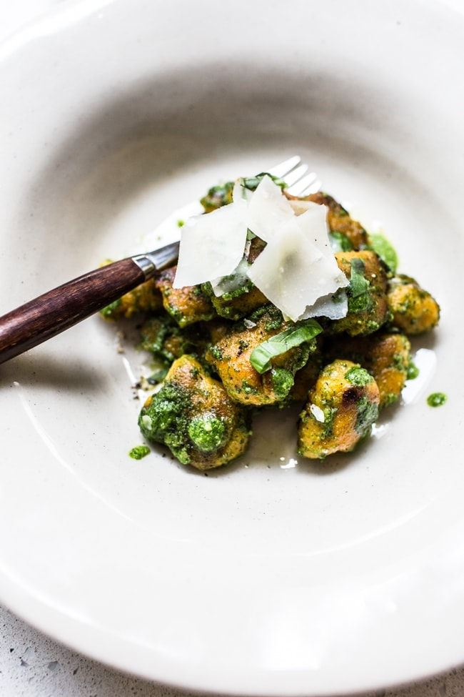 Sweet Potato Gnocchi with Wild Garlic and Sage Pesto - Izy ...