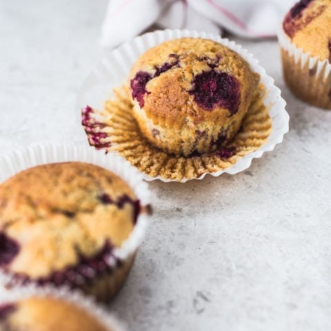 Cornmeal & Loganberry Muffins {Vegan}