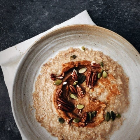 Earl Grey Quinoa Oatmeal with Pumpkin Spice Purée