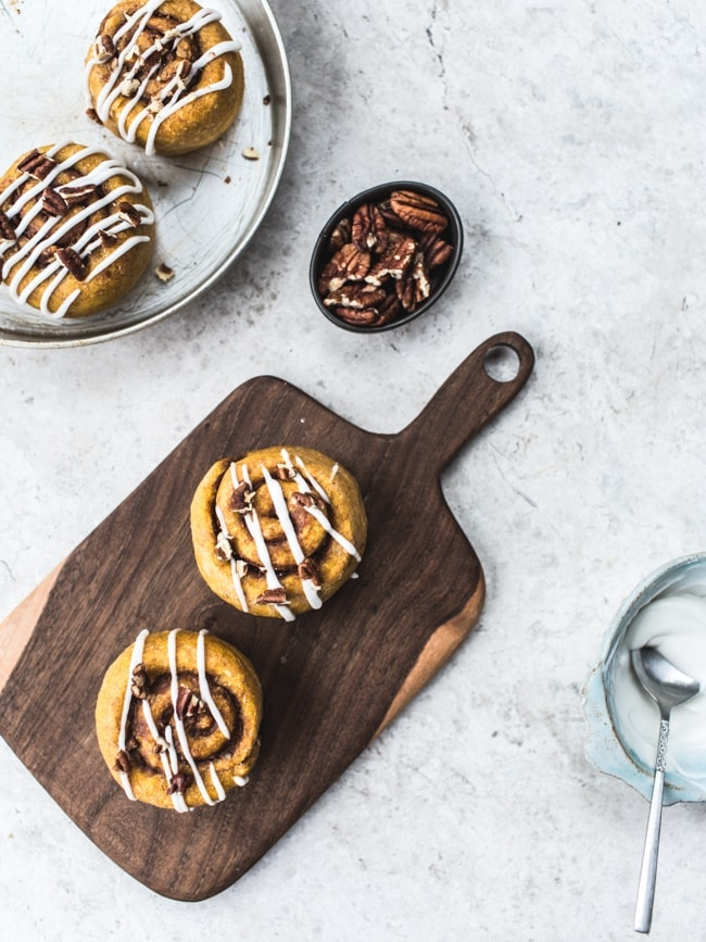 Small-Batch Sweet Potato Cinnamon Rolls {No Refined Sugar, Vegan}