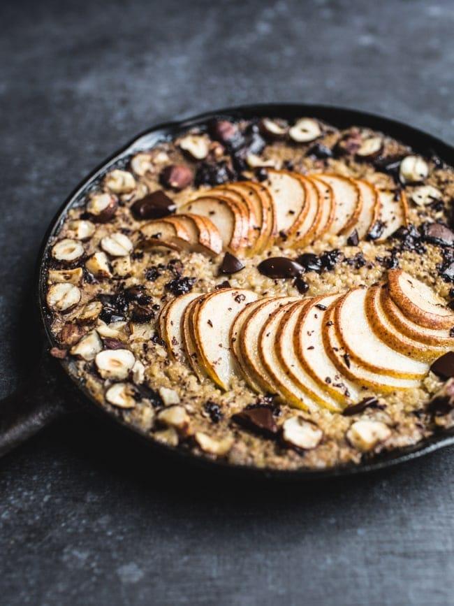 Baked Pear, Hazelnut and Chocolate Oatmeal-10