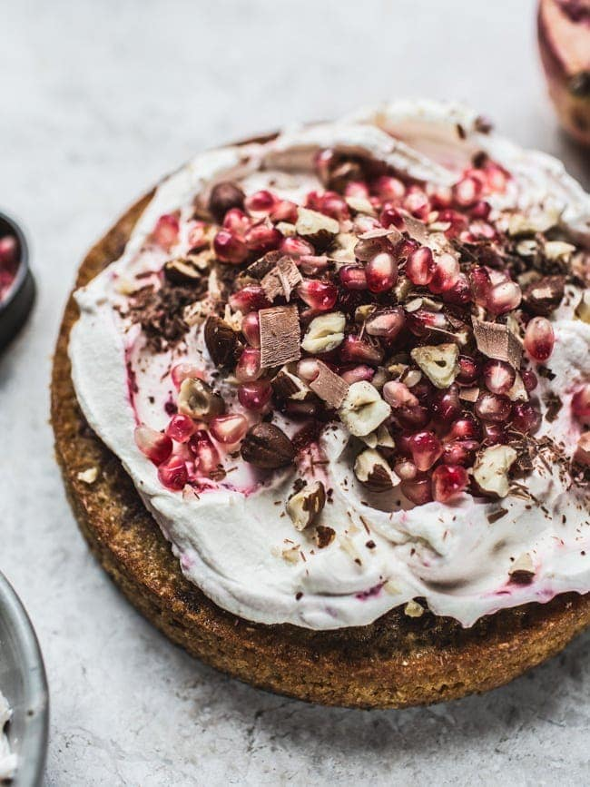 Chocolate Chip Hazelnut Pomegranate Cake