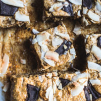 Flourless Chocolate Chunk + Coconut Blondies {Gluten Free, Grain Free + Dairy Free}