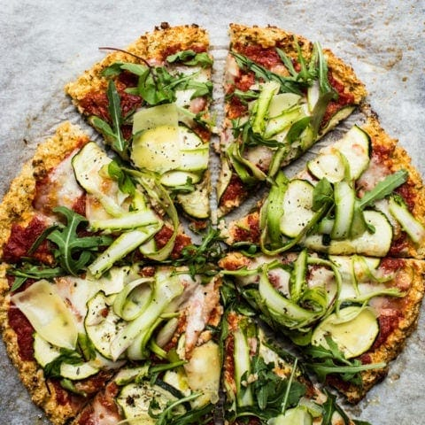 Asparagus & Courgette Cauliflower Flatbread {GF}