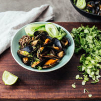 Steamed Mussels with Black Bean, Coconut & Ginger Broth