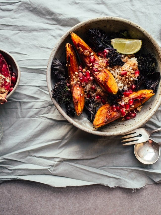 Squash & Crispy Kale Bowls with Pomegranate and Miso ...