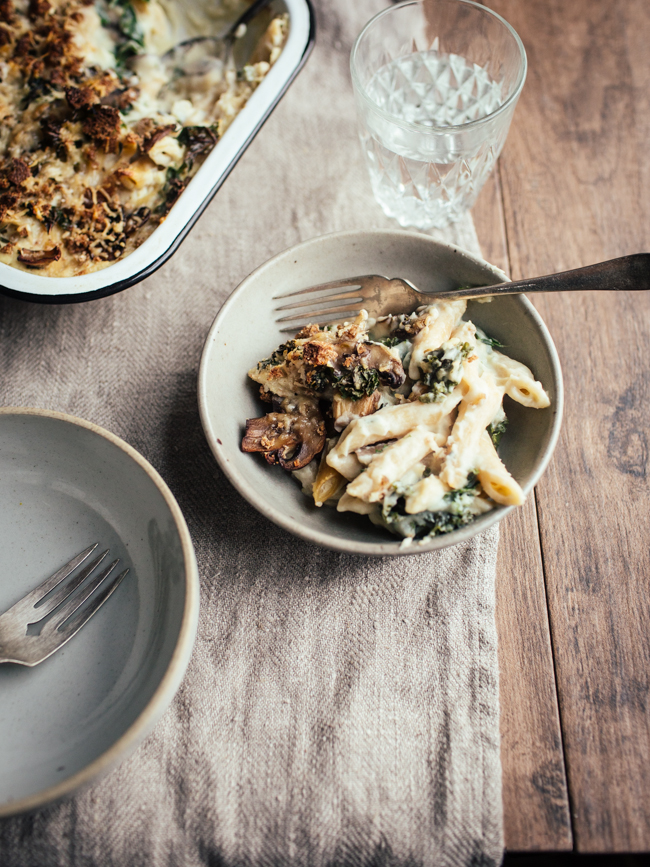 a bowl of vegan cauliflower mushroom pasta bake
