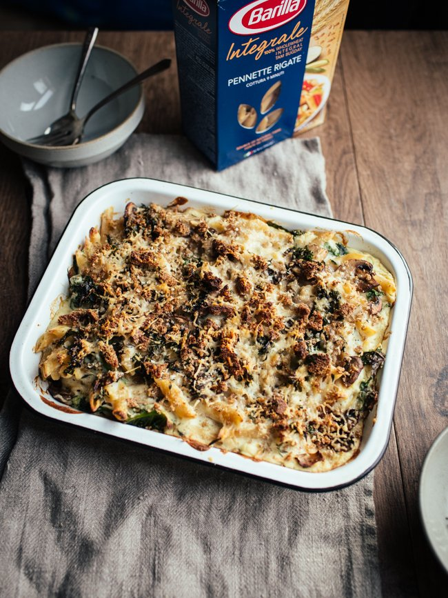 a tray of vegan creamy cauliflower mushroom pasta bake