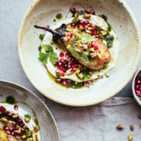 Burnt Aubergine, Coriander Oil, Garlic Labneh & Pomegranate