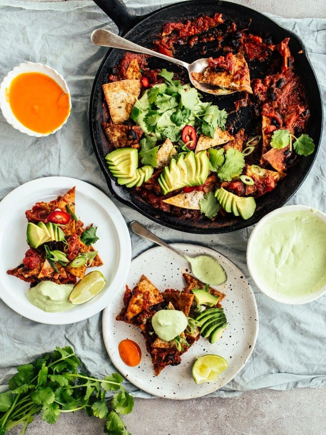 Chilaquiles with Cashew-Coriander Crema {Vegan}