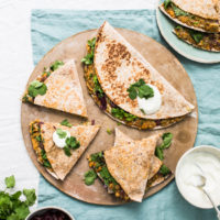 Sweet Potato, Red Onion and Lentil Quesadillas