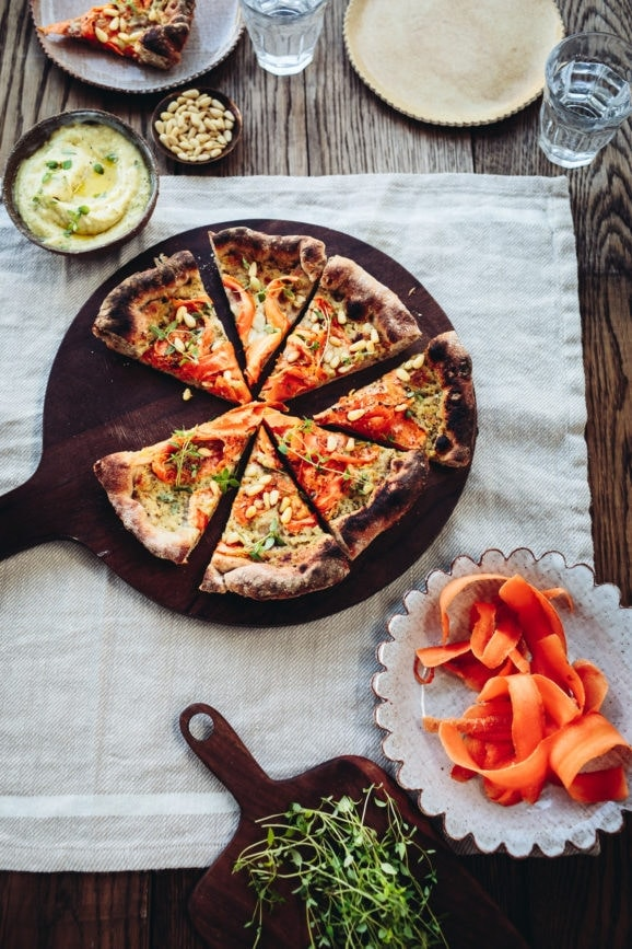 Carrot, Pine Nut, & Parmesan Skillet Pizza with Creamy Roasted Garlic Sauce