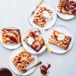slices of tahini caramel apple tart