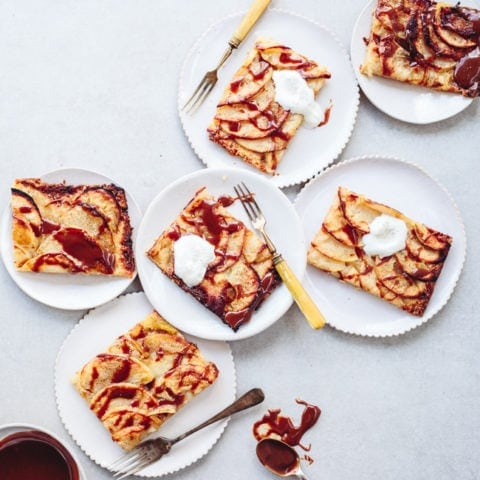 slices of tahini caramel apple tart