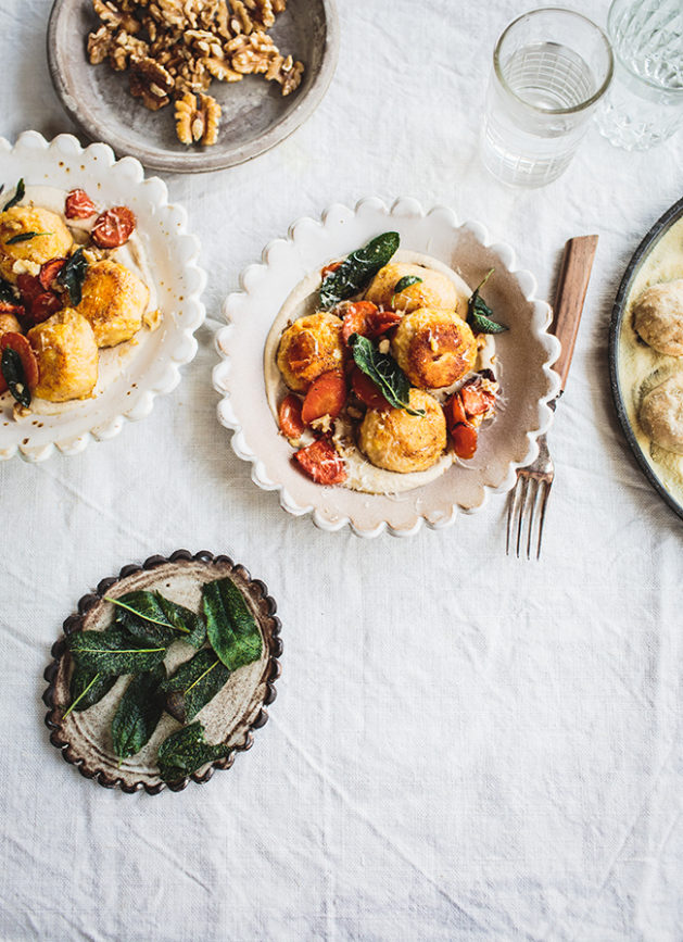 Carrot Gnudi with Creamy Walnut Sauce