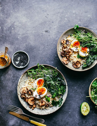 Food blogger Izy Hossack makes a Roasted Shiitake Mushroom, Brown Ric and Crispy Kale Bowl recipe