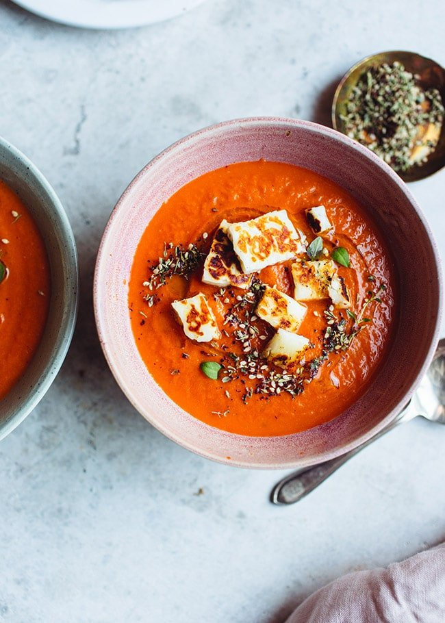 Food blogger Izy Hossack makes Tomato Soup with Halloumi Croutons