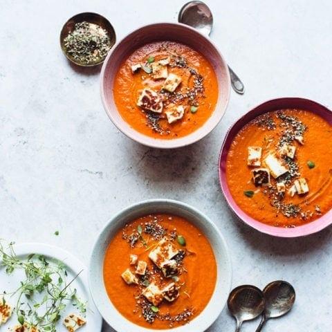 Tomato Za'atar Soup with Halloumi Croutons
