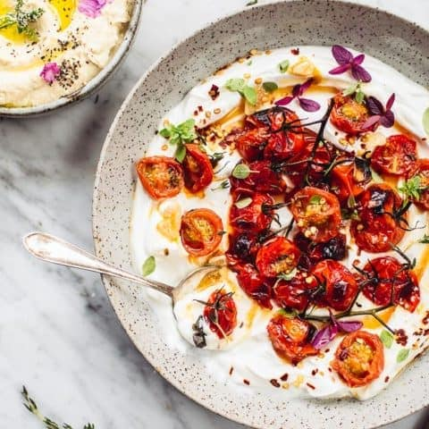 Ottolenghi Hot charred cherry tomatoes with cold yoghurt