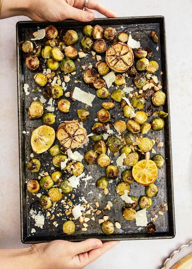 Roasted Brussels Sprouts with Garlic, Parmesan and Lemon