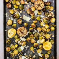 Roasted Brussels Sprouts and Garlic with Lemon and Parmesan