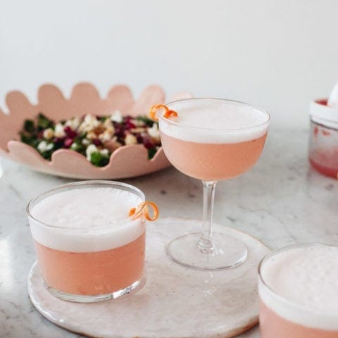 Aquafaba Gin Grapefruit Sour Cocktail