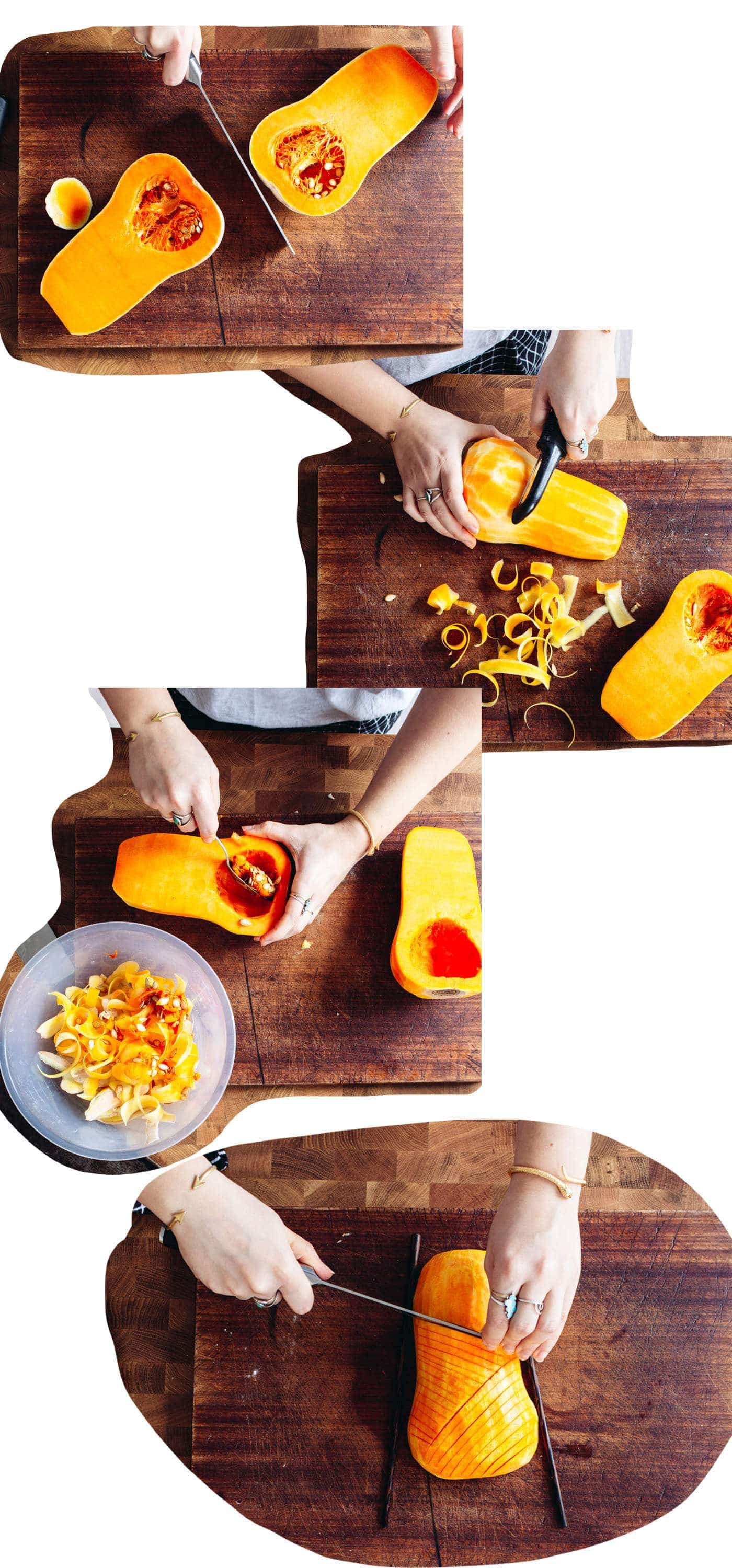 Food blogger Izy Hossack shows how to make Hassleback Squash with Garlic-Sage Butter