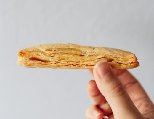 A piece of baked rough puff pastry