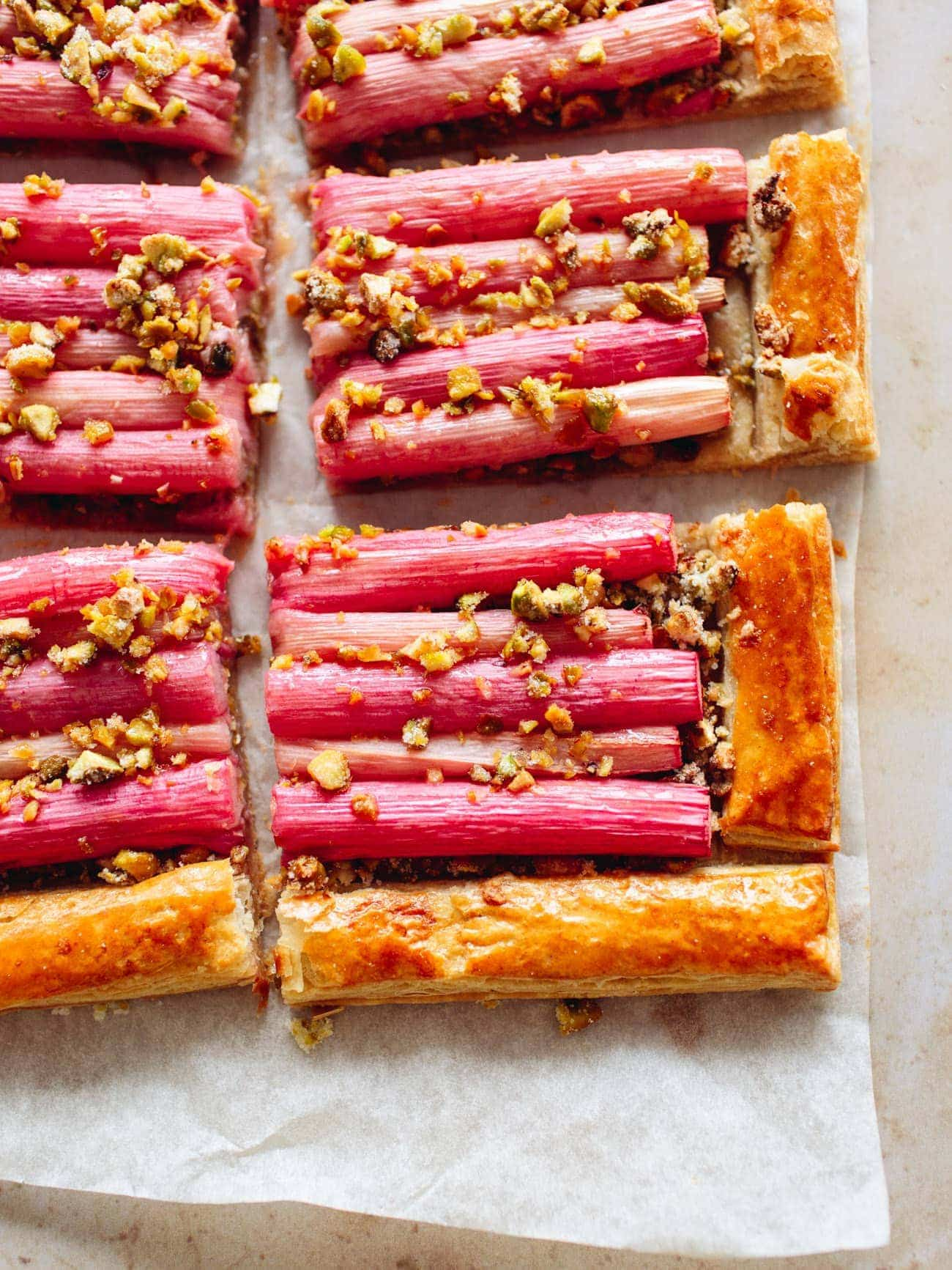 Simple Rhubarb Tart with chopped pistachios by Izy Hossack