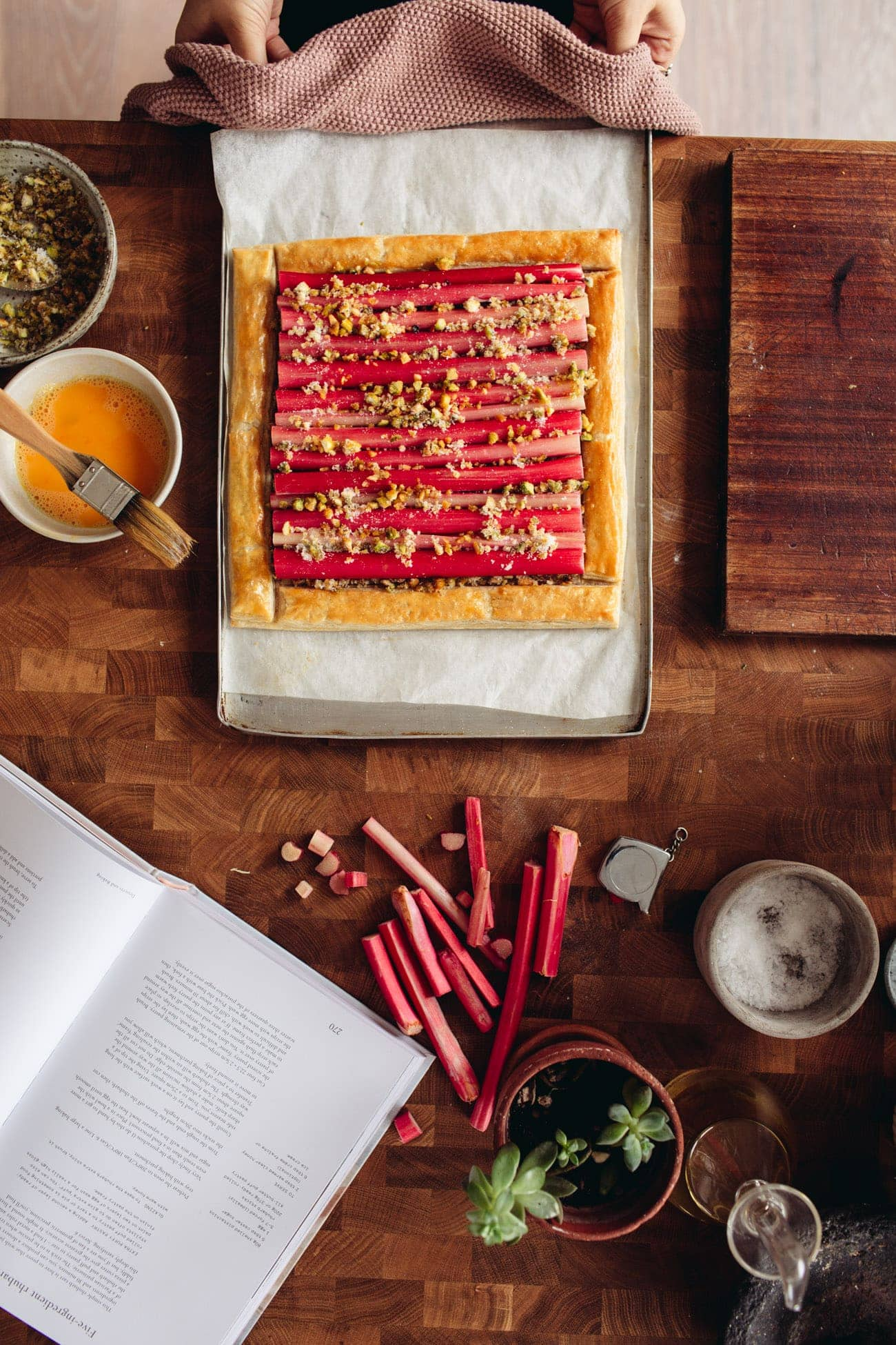 Simple Rhubarb Tart on a tray on the counter