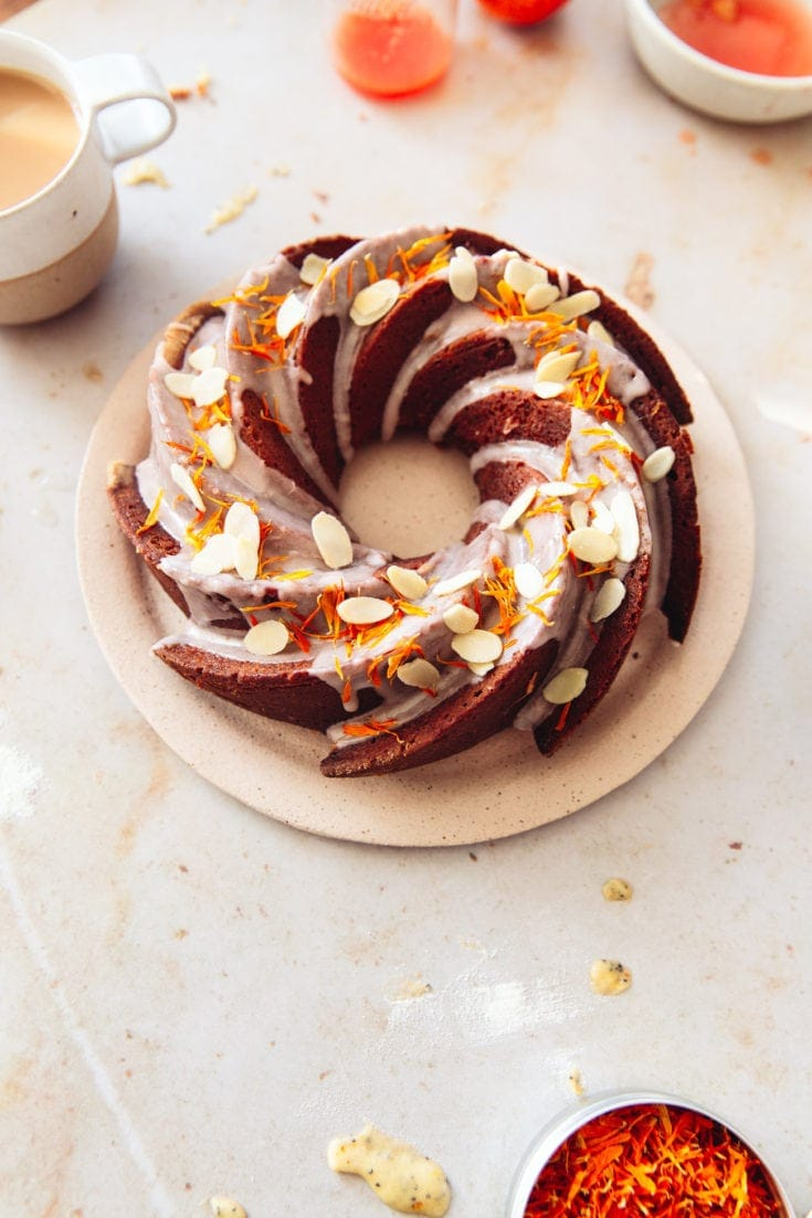 A soft, not too sweet Blood Orange & Poppy Seed #Bundt Cake, with a buttermilk batter and a Pink Blood Orange Glaze