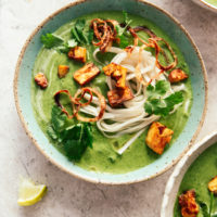 Broccoli Soup with Coconut, Coriander & Noodles