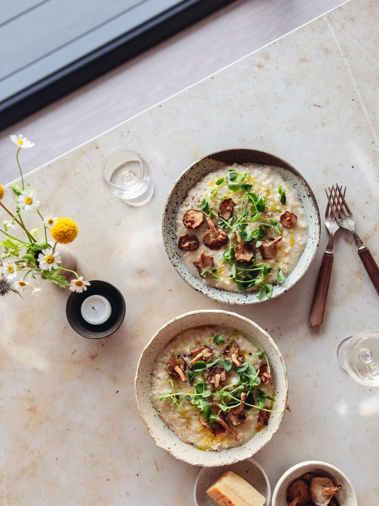 Celeriac Risotto with Roasted Mushrooms by Izy Hossack