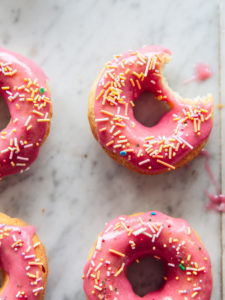 Rhubarb Baked Doughnuts by food blogger Izy Hossack