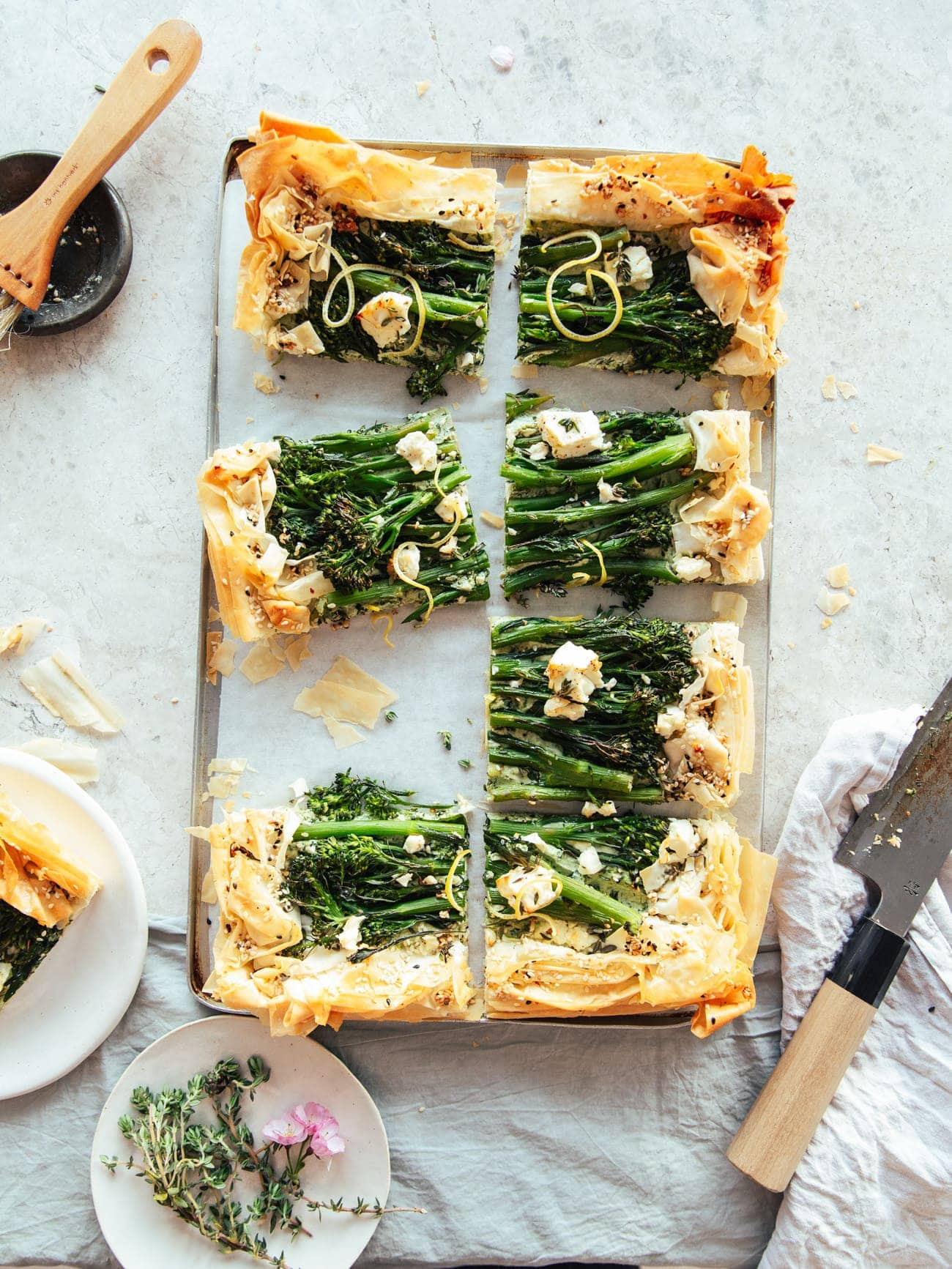 A filo pastry tart with broccoli and feta, on a ricotta base by Izy Hossack
