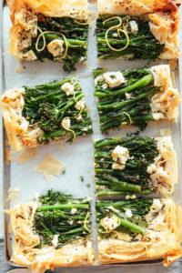 A filo pastry tart with broccoli and feta, on a ricotta base by Izy Hossack